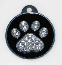 crystal paw print pet tags
