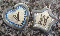 beautiful metal crystal id tags