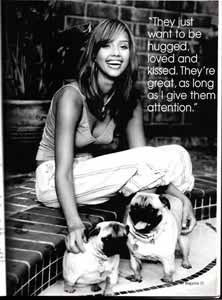 Animal Fair Magazine with Jessica Alba and her Animal Stars tag wearing Pug dogs Sid and Nancy. Jessica Alba black white picture