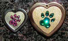 pawprint crystal tags