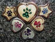 paw pawprints crystal pendants id tags jewelry