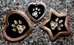 crystal paws pawprints pendants jewelry id tags