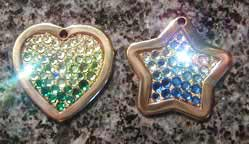 crystal rainbow dog id tags